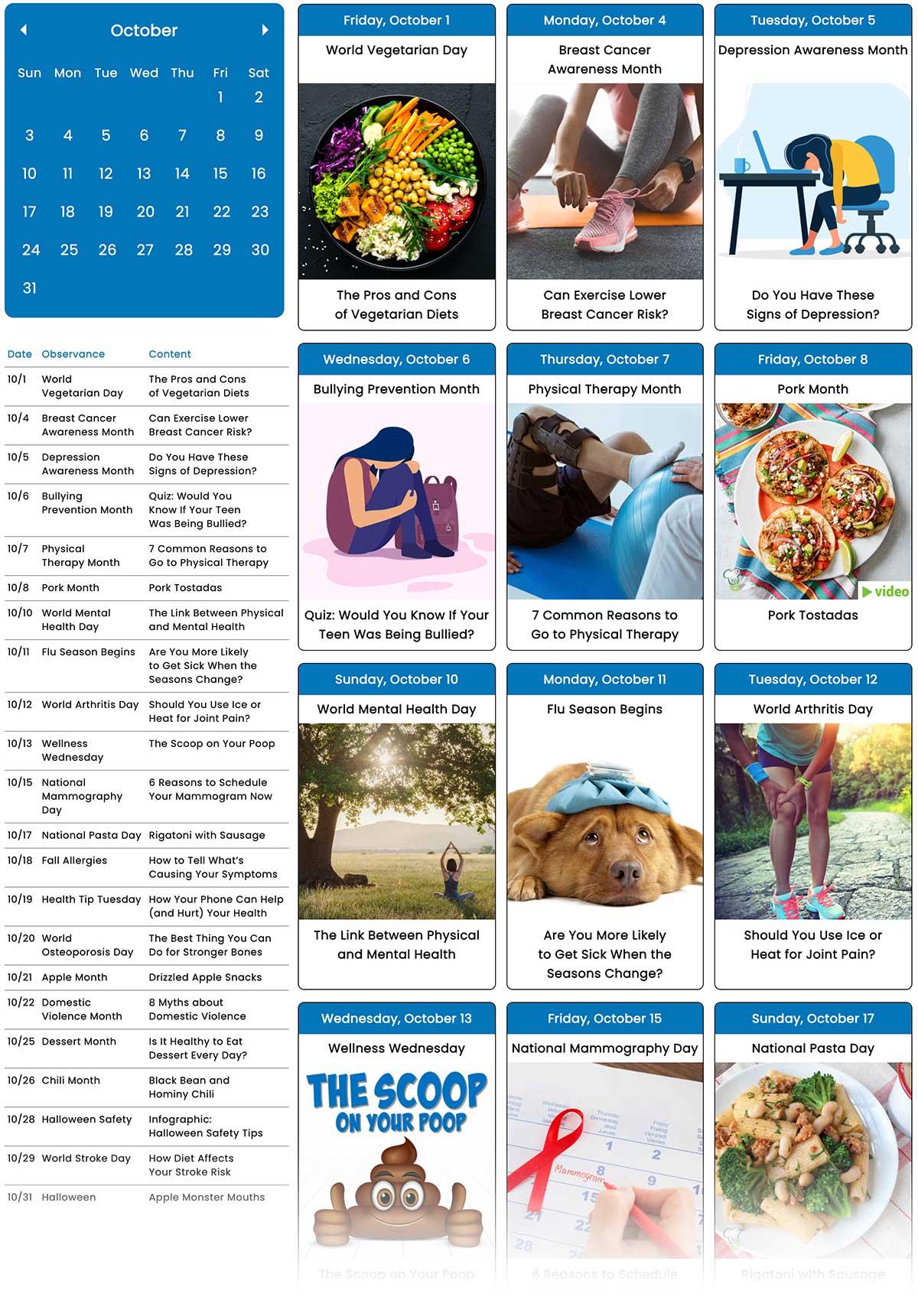 October Social Media Guide